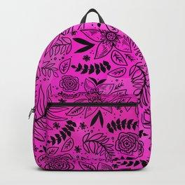 Black Outline Floral on Hot Pink Watercolor Backpack