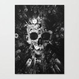 Garden Skull Dark B&W Canvas Print