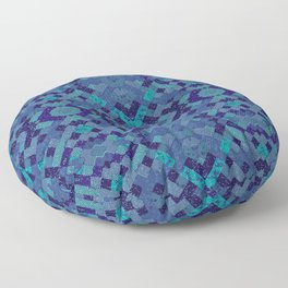 Geo aqua pixel fun Floor Pillow