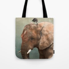 Brotherly- elephant and owl Tote Bag