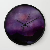 night sky Wall Clocks featuring Night Sky by Ale Ibanez