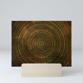 Lime Brown Boho Mandala    Manafold Art Mini Art Print