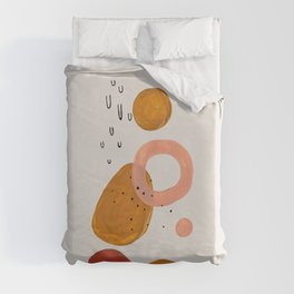 'Lift Off' Earth Tones Neural Warm Colors Fun Space Shapes Yellow Ochre Tan Brown by Ejaaz Haniff Duvet Cover