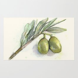 Olive Branch | Green Olives | Watercolor Illustration Rug