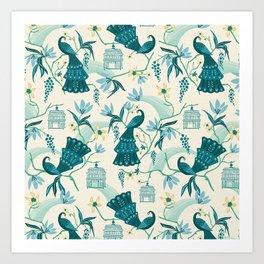 Aviary - Cream Art Print