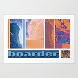 Surf skate snow boarder art Art Print