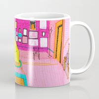 the royal tenenbaums Mugs featuring The Royal Tenenbaums Tent. by Alxndra Cook