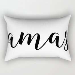 'Namaste' Pose in Bright Solid White and Black Text Yoga Exercise Rectangular Pillow