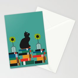 Cat, books and flowers Stationery Cards