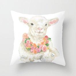 Baby Lamb Floral Watercolor Farm Animal Throw Pillow