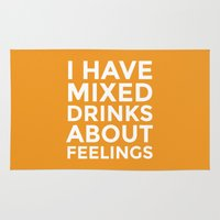 alcohol Area & Throw Rugs featuring I HAVE MIXED DRINKS ABOUT FEELINGS (Alcohol) by CreativeAngel