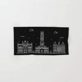Bruges Minimal Nightscape / Skyline Drawing Hand & Bath Towel