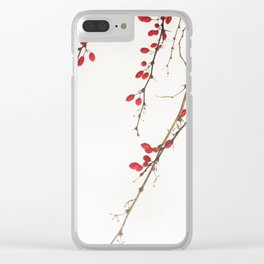 Red Berry Branches Clear iPhone Case