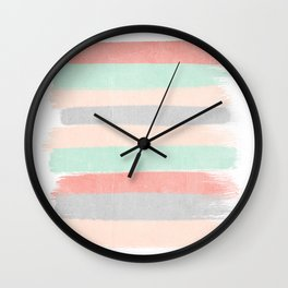 Stripes hand painted abstract minimal nursery decor gender neutral palette Wall Clock