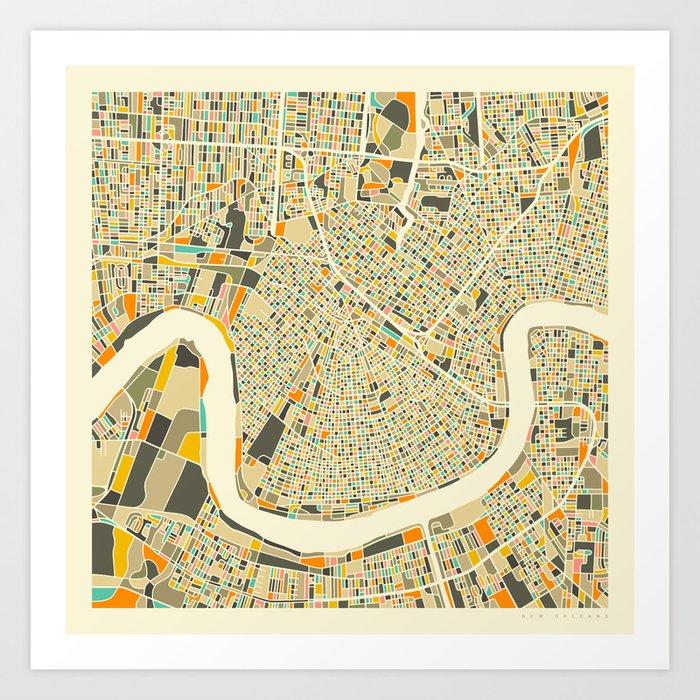 New Orleans Map Kunstdrucke