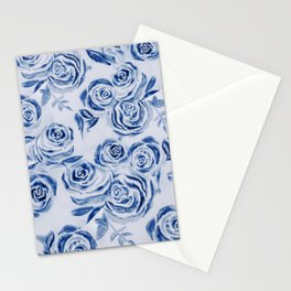 Blue Rose Floral Pattern - Most liked blues Stationery Cards