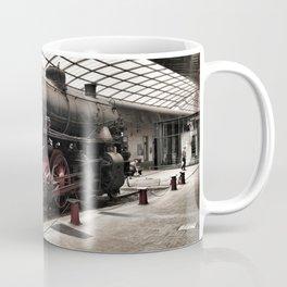 steam locomotive inside the train station Coffee Mug