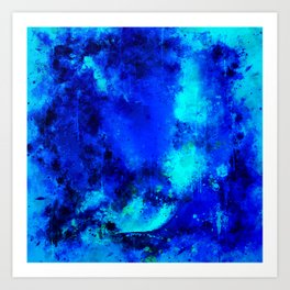 psychedelic color gradient pattern splatter watercolor blue Art Print