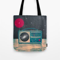 radio Tote Bags featuring Space Radio by Victor Vercesi