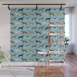 Greyhound Dog pet portrait dog lover must have gifts perfect christmas present for dog person Wall Mural