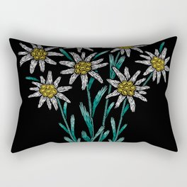 Embroidered Flowers on Black 02 Rectangular Pillow