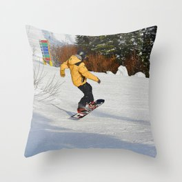 Snowboarding Fool Throw Pillow