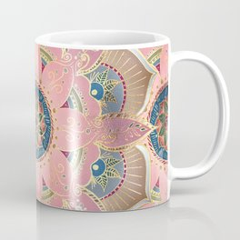 Trendy Metallic Gold and Pink Mandala Design Coffee Mug