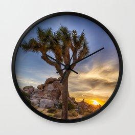 Charming sunset at Joshua Tree National Park Wall Clock