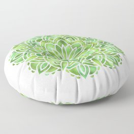 Mandala Green Leaves Floor Pillow