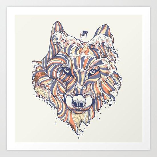 Wave Wolf Art Print