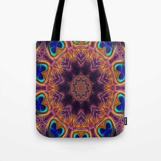 Peacock Fan Star Abstract Tote Bag