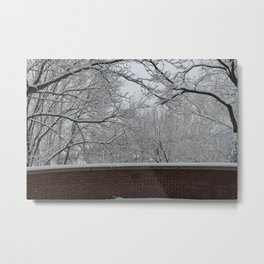 Winter at Ohio University - Brick Metal Print