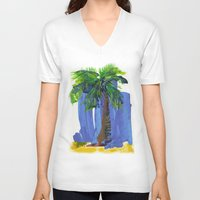 palm tree V-neck T-shirts featuring Palm Tree  by Thom Lupari