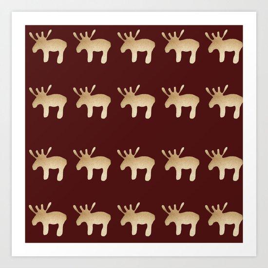 Reindeer queues Art Print
