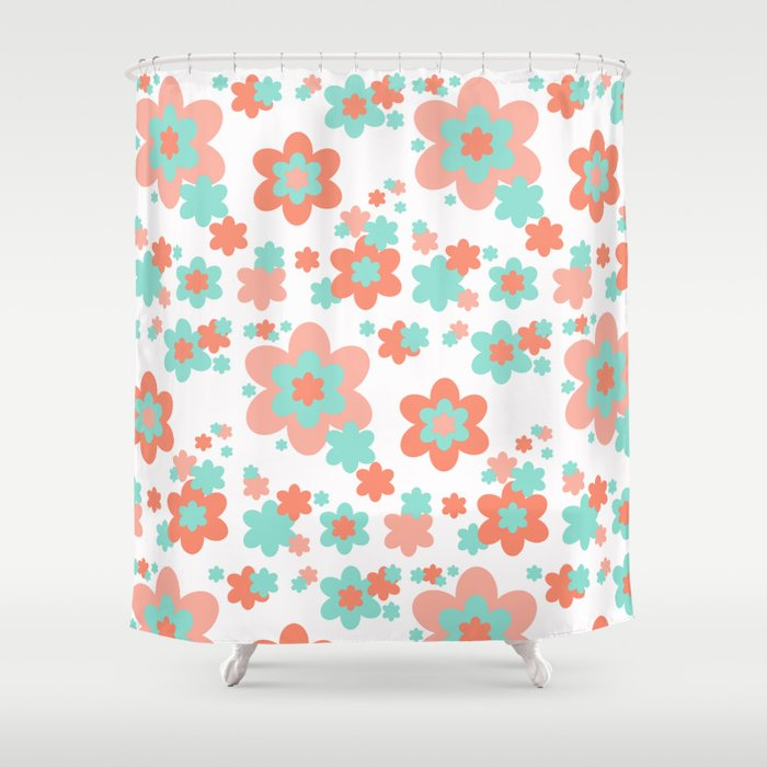 Coral And Mint Green Floral Shower Curtain By