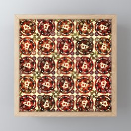 Crypto currency money red pattern Framed Mini Art Print