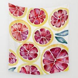 Sliced Grapefruits Watercolor Wall Tapestry