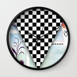 Fun Original Pop Art Abstract Checkered Racing Flag By Liane Wright Wall Clock