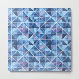 Geometric Watercolour Galaxy Squares and Triangles Metal Print