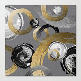Modern Abstract Golden Rings Black and White Swirl Circles Canvas Print