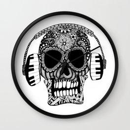 Tangled Skull with Headphones Wall Clock