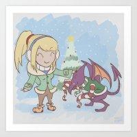 Samus in Christmas Art Print