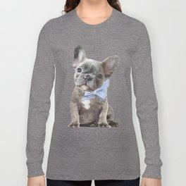 French bulldog, Frenchie, Blue Grey by Amanda Greenwood Long Sleeve T-shirt