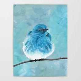 Mountain Bluebird Acrylic Art, Blue Bird Painting, Bird on a Branch, Wall Art, Fluffy Bird Poster
