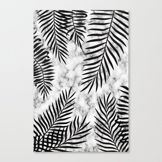 Black palm leaves on marble Canvas Print
