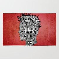 tyler durden Area & Throw Rugs featuring Typography Tyler Durden Uncensored by Adam Grey