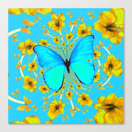 BLUE BUTTERFLY YELLOW AMARYLLIS PATTERNED ART Canvas Print