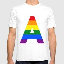 Rainbow letters A LGBT GAY PRIDE SEASON TYPOGRAPHY LGBTQIA T-shirt