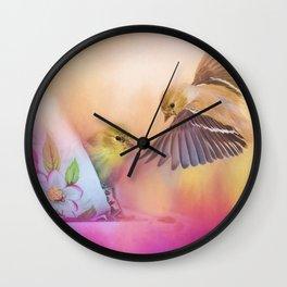 Raiding The Teacup - Songbird Art Wall Clock