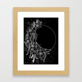 The Flower Moon; Crescent Moon; Feathers; Dream Catcher; Chalk Art Framed Art Print
